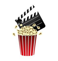 color clapper board and pop corn icon vector image vector image