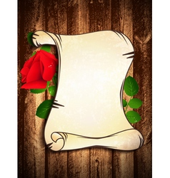 Old Paper With Red Rose vector image vector image