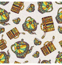 Seamless pattern with teapot and cup vector image vector image