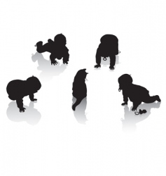 silhouettes of childhood vector image