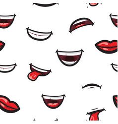 pattern smiling lips mouth with tongue white vector image