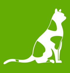 sitting cat icon green vector image