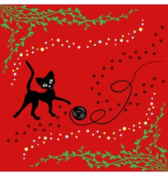 Black cat playing with ball of yarn vector image vector image