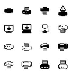 black printer icon set vector image