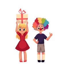 boy with clown nose and wig girl holding birthday vector image