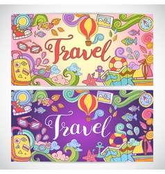 Doodle art with summer travel theme vector image