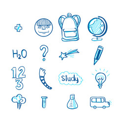 Education doodle icon set vector
