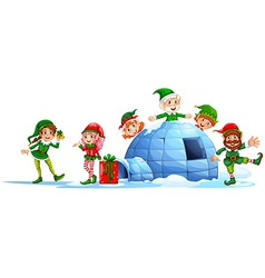 Elves playing outside the igloo vector image vector image