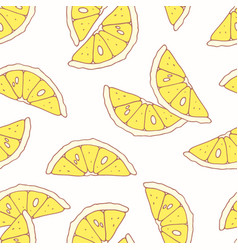 hand drawn seamless pattern with lemon vector image
