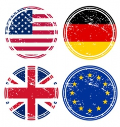 rubber stamps with flags vector image vector image