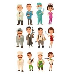 Set icon character cook mafia doctor Waiter vector image