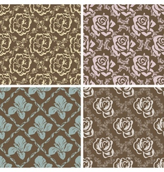 Set of seamless floral retro patterns vector image vector image