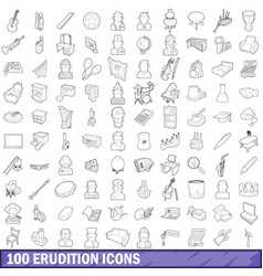 100 erudition icons set outline style vector image vector image