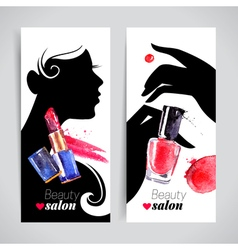 Beautiful woman silhouette watercolor cosmetics vector image