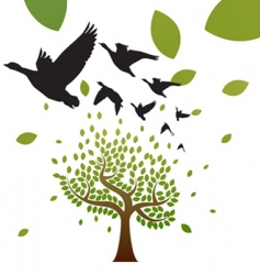 birds and tree vector image