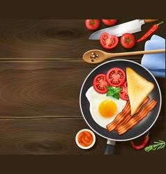 Breakfast In Frying Pan Top View vector image vector image