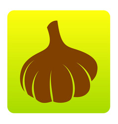 garlic simple sign brown icon at green vector image vector image