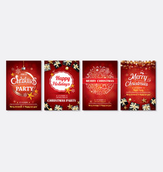 merry christmas party glass ball and gift box for vector image vector image
