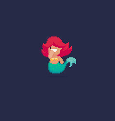 pixel art mermaid vector image