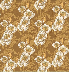 Seamless pattern of vintage white poppies vector image vector image