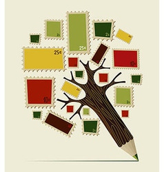 Stamp icon pencil tree concept vector image