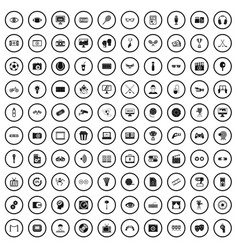 100 video icons set simple style vector image