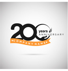 200 years anniversary logo with ribbon and hand vector image