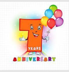 7 anniversary funny digits vector