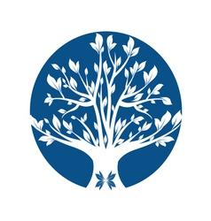 Abstract blue art tree closeup vector
