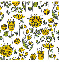 abstract flowers naive seamless pattern vector image