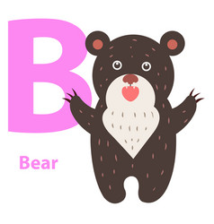 alphabet for children b letter bear cartoon icon vector image