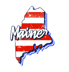 American flag in maine state map grunge style vector