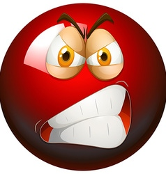 Angry face on red ball vector