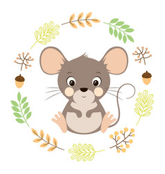 autumn card with cute mouse vector image