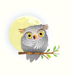 Baby animal owl watching at night sitting vector