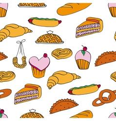 bakery assortment pattern vector image