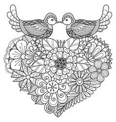 Bird couple coloring book vector