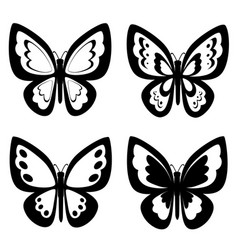Black white retro style four butterflies vector