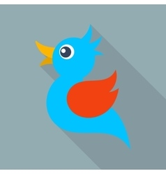blue bird icon long shadow vector image