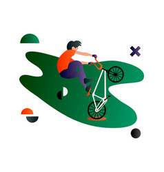 bmx cartoon flat bmx rider bmx sport art vector image