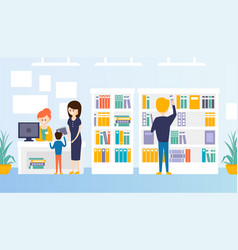 Bookstore or library interior with bookshelves vector