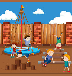 boys playing on playground vector image