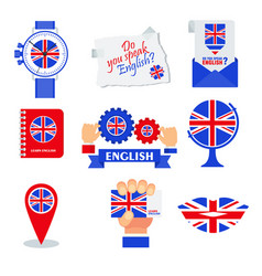 Bright flat banner for english language learning vector