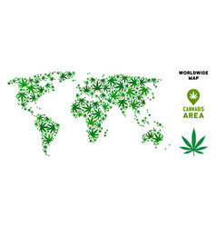 Cannabis collage world map vector