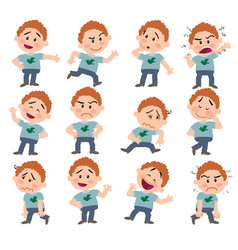 cartoon character white boy set vector image