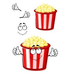 Cartoon popcorn character in striped bucket vector
