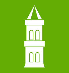 castle tower icon green vector image