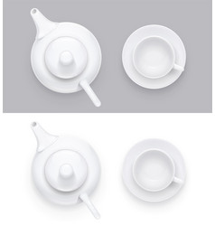 ceramic teapot and cup vector image