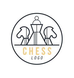 chess logo design element for tournament sports vector image