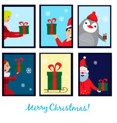 christmas collection with six cards eps vector image